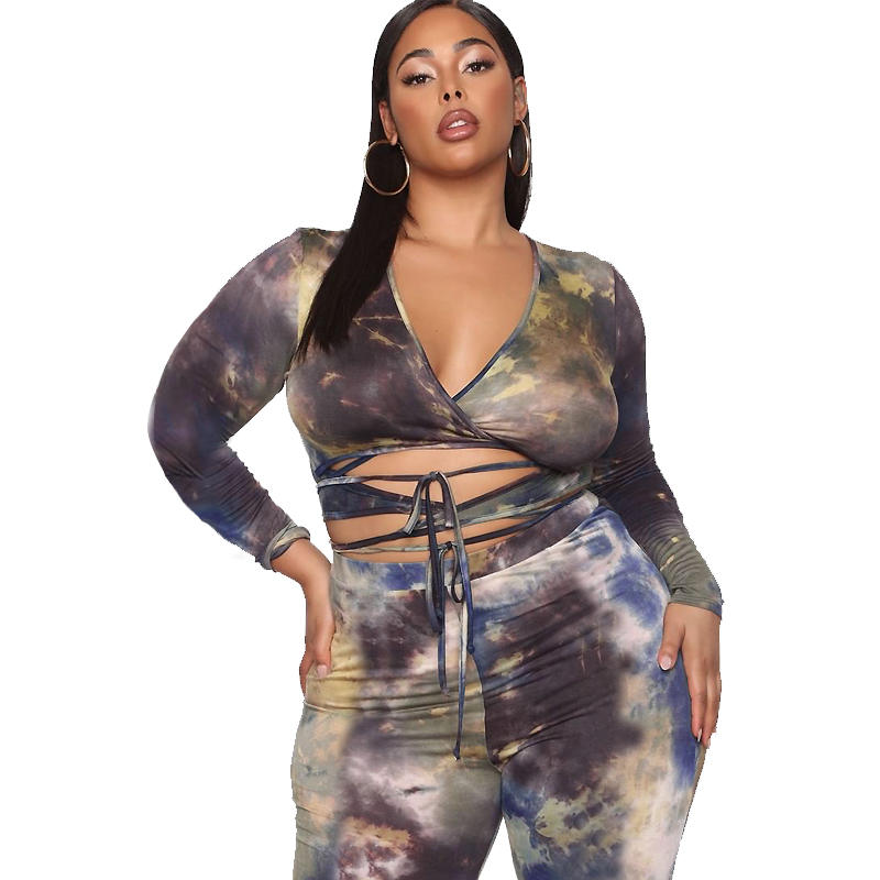 New Arrival Printed Fat Women Clothing Fashion Top&pants Plus Size Bodycon Two Set 5xl