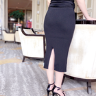 Hot selling black women sexy knit long pencil skirt for ladies
