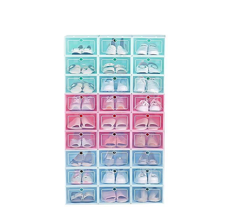 Водонепроницаемый пластмассы хранения коробки ясно обувь коробки стекируемые спереди, настроить ящик для хранения ящик тип обуви коробка