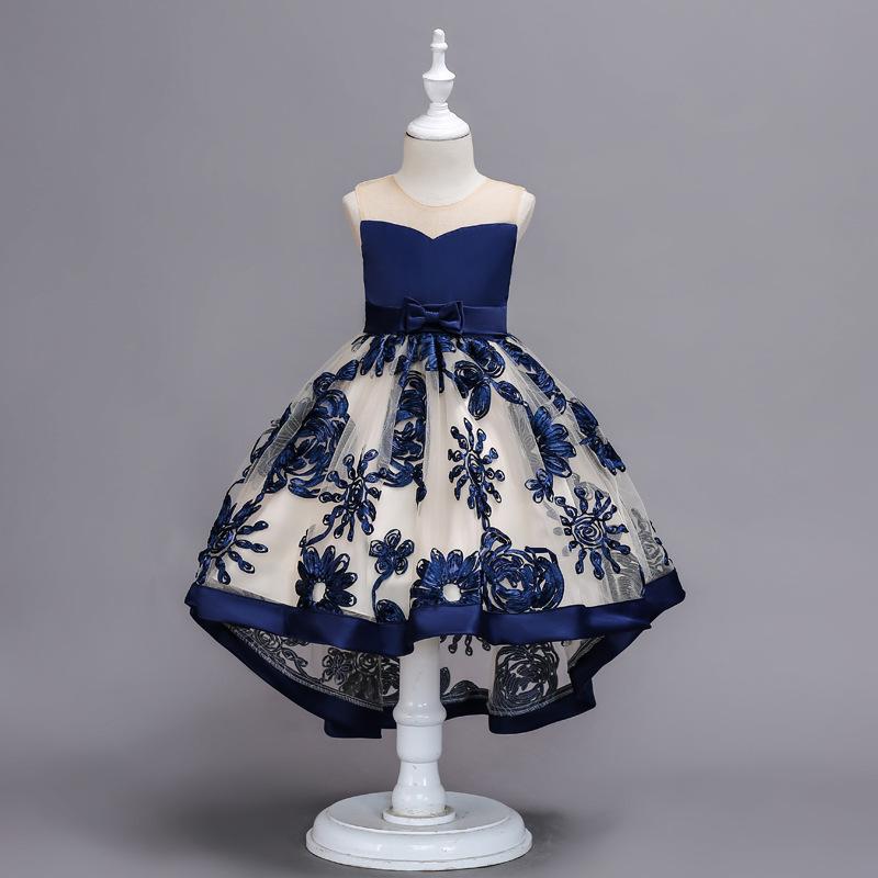 Эксклюзивные Бальные платья для девочек 1 год; Платье для дня рождения; Голубое Тюлевое платье с цветами для девочек