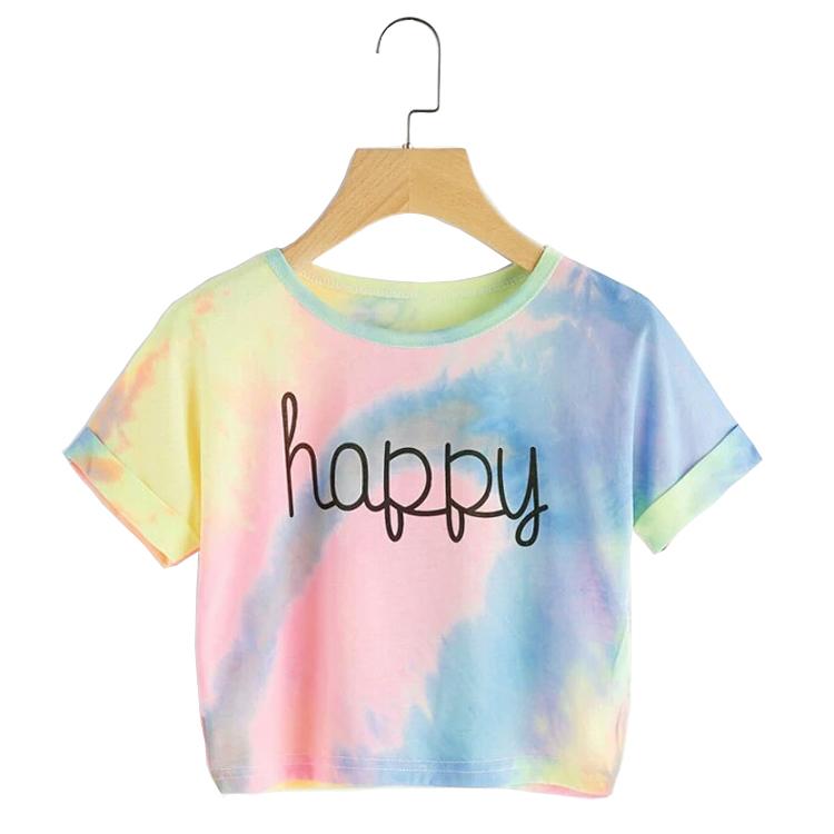 2020 Venta caliente de encargo cuello redondo corto esposado manga Pastel Tie Dye verano Casual gráfico Tee diseño las mujeres las niñas T camisa