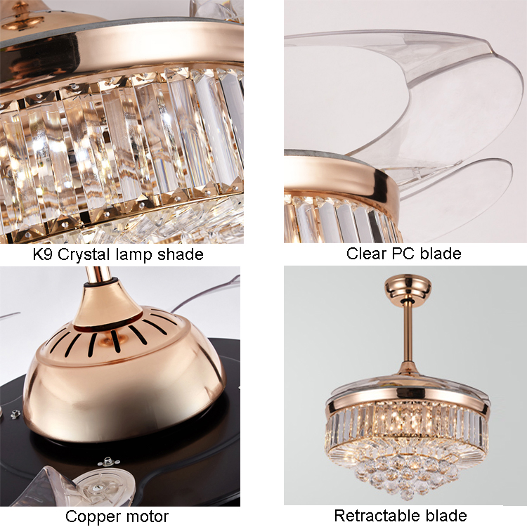 Arabic Luxury Retractable Chandelier Crystal Fancy Hidden Transparent Blade Ceiling Fan With LED Light