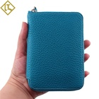 2020 hot sale lychee layer cowhide wallet zipper custom coin purse bag with coin pocket