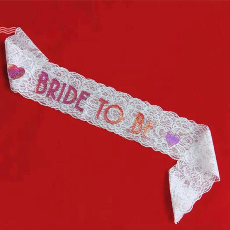 Factory direct bride to be white lace bride to be sash flashing laser paper bachelorette sash