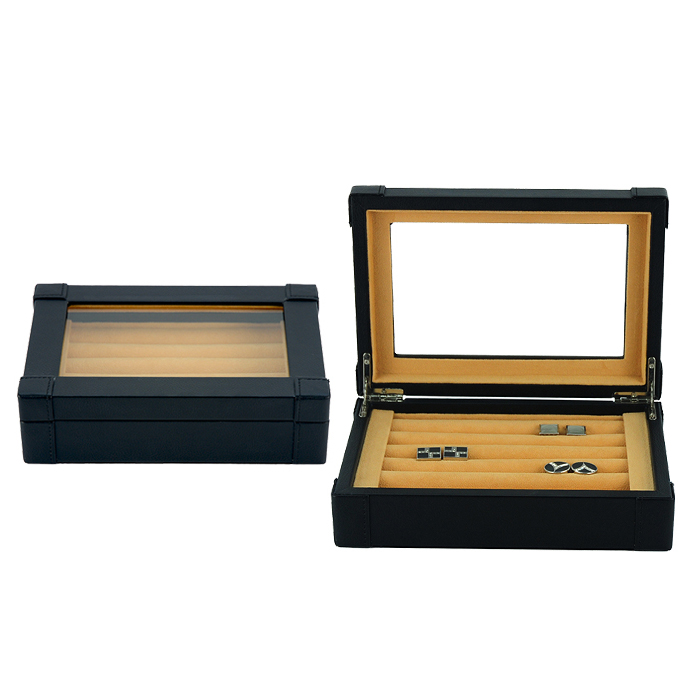 Sonny Luxury Exquisite Black PU Leather Large Capacity Fancy Ring Cufflink Storage Box With Glass Top