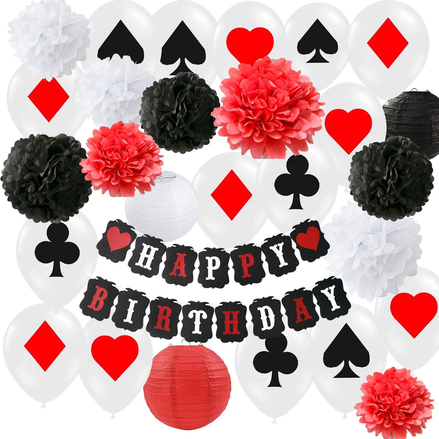 Casino Party Las Vegas Themed Parties Casino Night with Honeycomb pom poms balloons for Birthday Poker Party Decorations