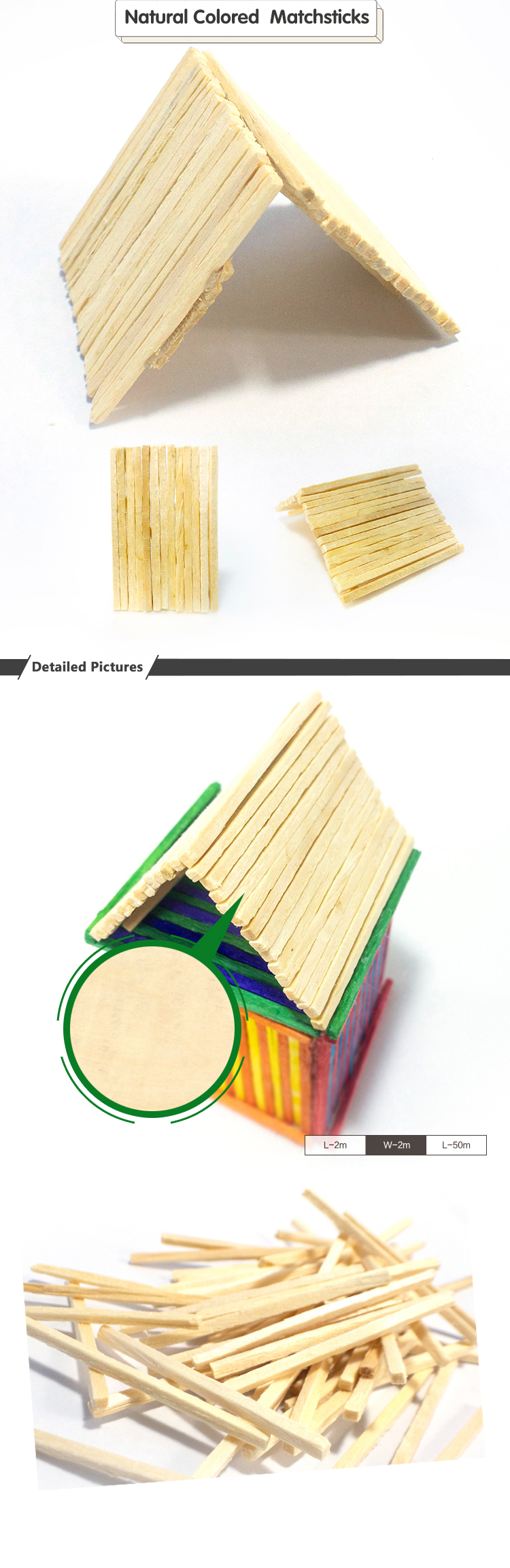2019 Cheap Wholesale Multiple Eco-Friendly Quality Diy Colorful Craft Wooden Match Sticks