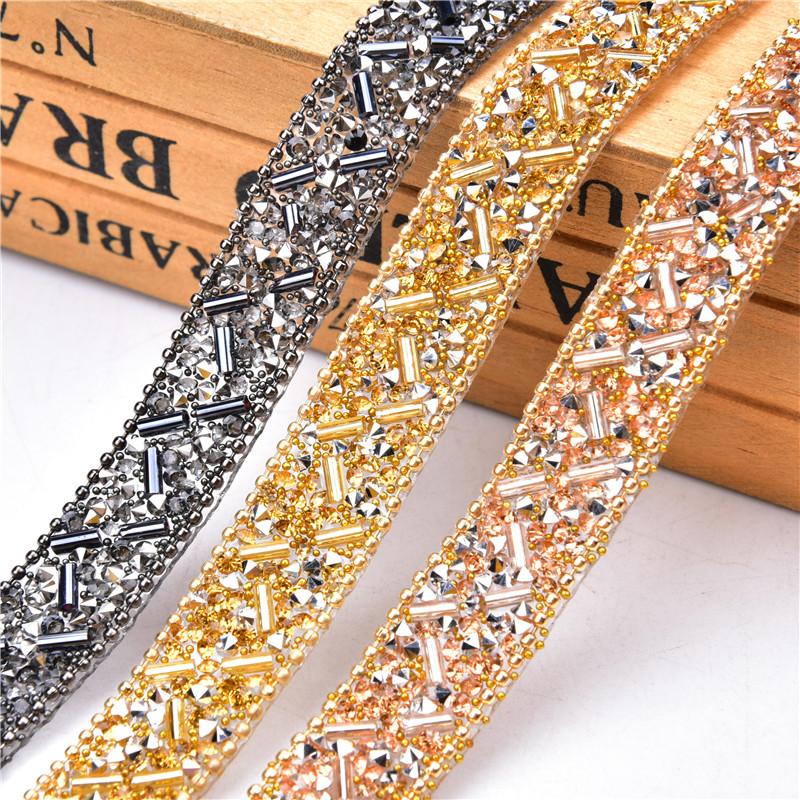 Bead For Garments Trimming Hotfix Cheap Cube Custom Iron On Rhinestone Trim