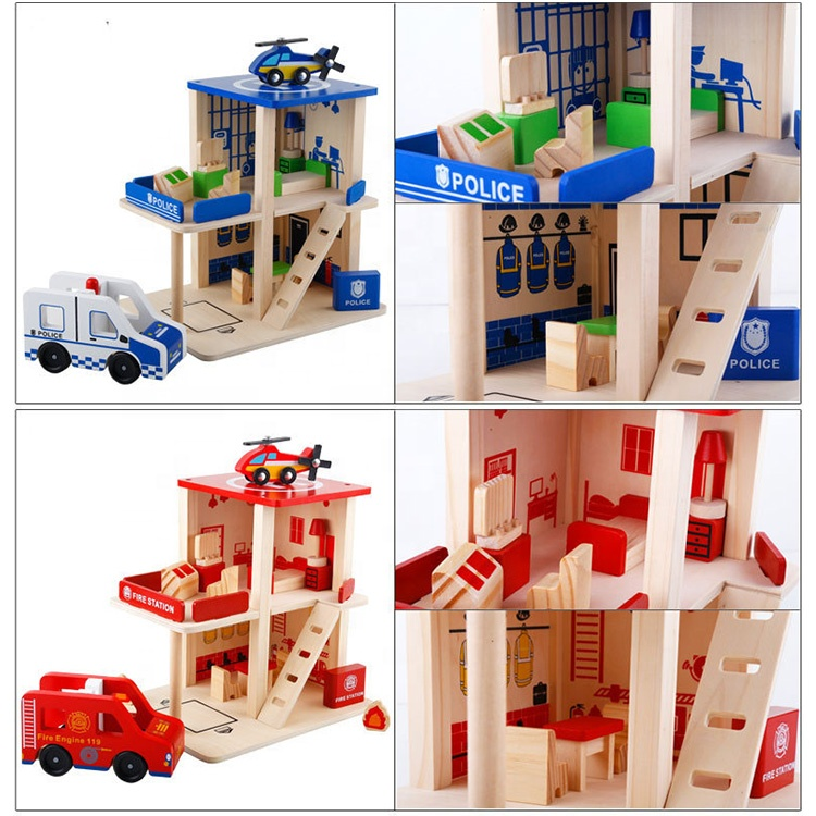 Kids 3Color Parking Garage Wooden Toy Fire Station For Wholesale
