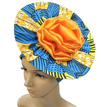 Nigerian Aso oke Gele Print Wax Bonnet 3d Big Silk Flower Headtie African Auto Gele headties For Women 009