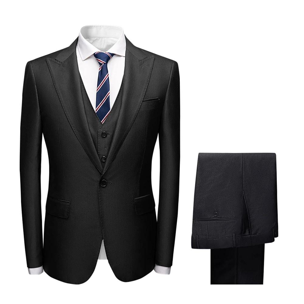 Grosir Pria Jas Formal Kantor Hitam Kostum Homme Bisnis Suit Set untuk Pria 3 Buah