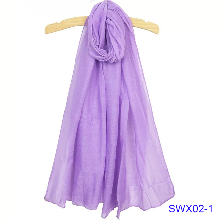 Classic Gift Solid Pure Color Voile Scarf Chiffon Purple Shawl Scarves