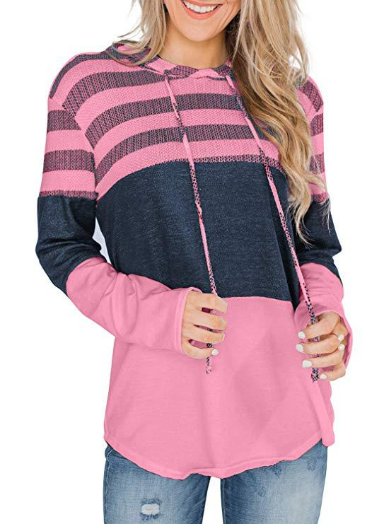2019 autumn and winter new long-sleeved color matching stripes loose hooded shirt contrast color sweater shirt 8 colors