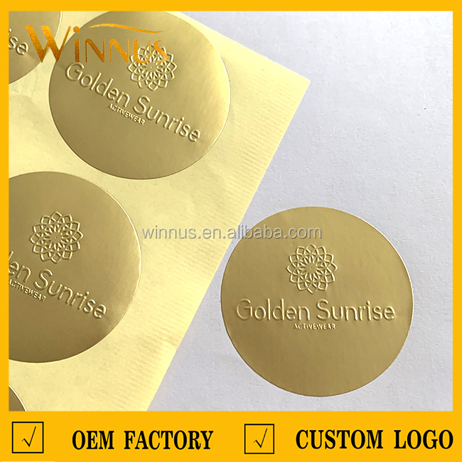 cheap custom luxury packaging gold silver 3d embossed logo self-adhesive label sticker