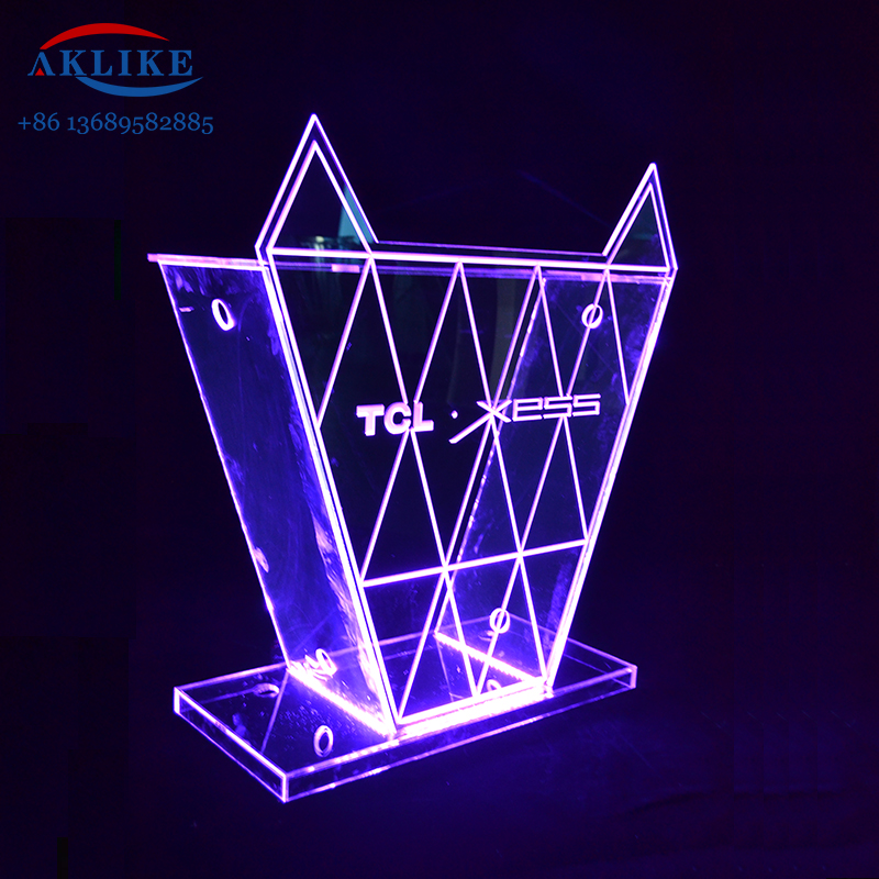 Colorful Acrylic Led Dj Table AKLIKE Sound <strong>Bar</strong> with Light Led Dj Booth Furniture Dj Equipment Modern Custom Desk Indoor Stand