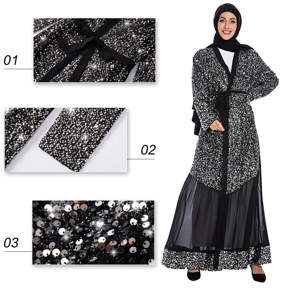 2020 più nuovo di lusso turchia fashion magnifico ultime lungo Paillettes abaya per le donne musulmane musulmano abito lungo robe dubai
