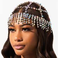 Luxury Rhinestone Forehead Headpiece Tassel Bridal Head Chain for Women Handmade AB Crystal Hair Pieces Headwear Accessories Hat