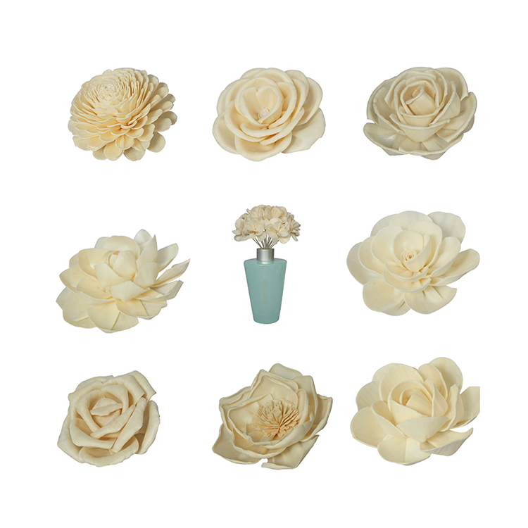 Wholesale Free Samples 8cm natural handmade fragrance reed diffuser chrysanthemum sola wood flower with cotton wick