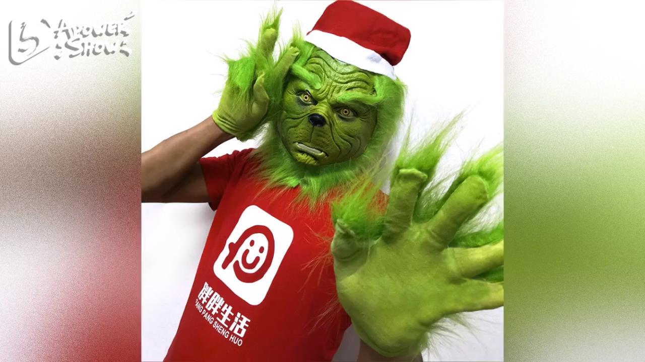 YHWSJ310 Hot Koop 2020 Halloween Spoof Rekwisieten Santa Grinch Hoed Volledige Hoofd Latex Maskers