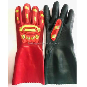 Anti high long safety impact 14 inches pvc coated protect tpr glove of patch gloves