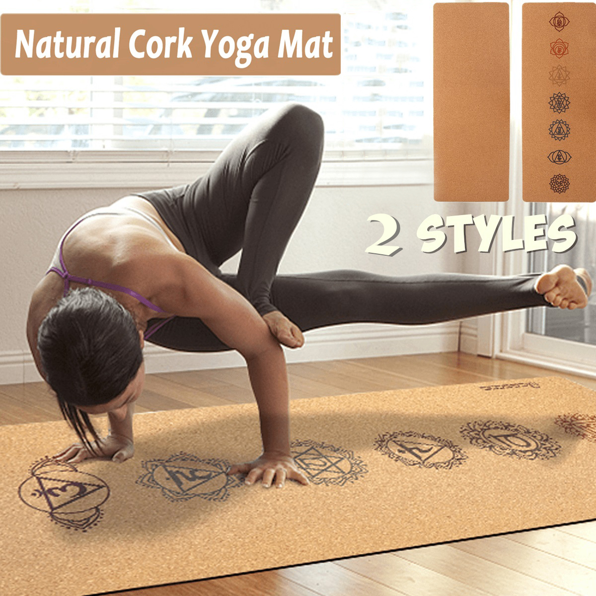 Cork Yoga Mat  Natural  Cork  rubber Yoga Mat Fitness Gymnastics Pilates Free shipment from us warehouse