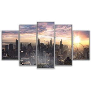 Cityscape Canvas Painting Wall Art City Artwork NYC Picture Print on Wrapped Canvas for Office