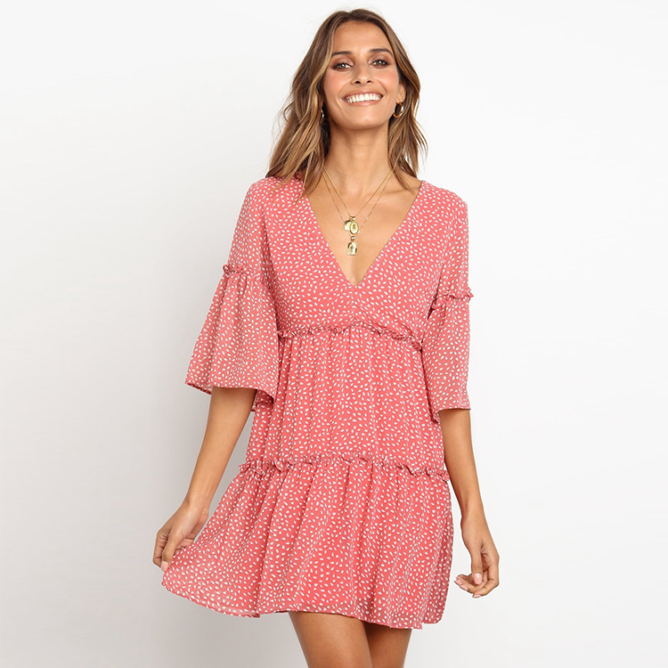 Summer Women's Casual <strong>Skater</strong> <strong>Dress</strong> Floral <strong>Lace</strong> V Neck Trumpet Sleeve Chiffon Layer Mini <strong>Dress</strong>