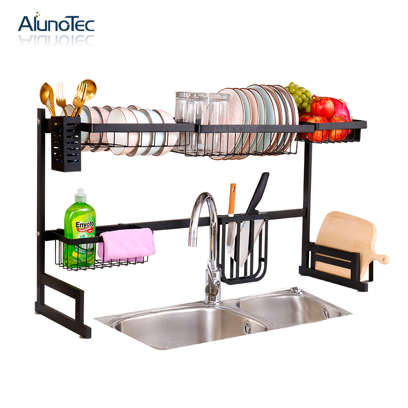 85cm Drying Dryer Holder Metal Stand Plate <strong>Shelf</strong> Rack Two Tiers Dish Drainer Kitchen Storage