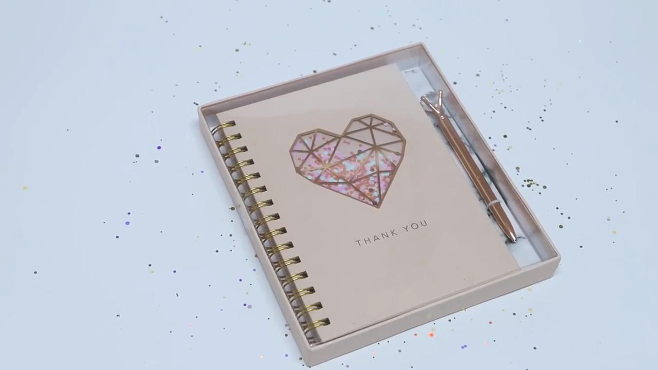 โลโก้ที่กำหนดเองสีชมพู SPIRAL Notebook พร้อมชุดปากกา