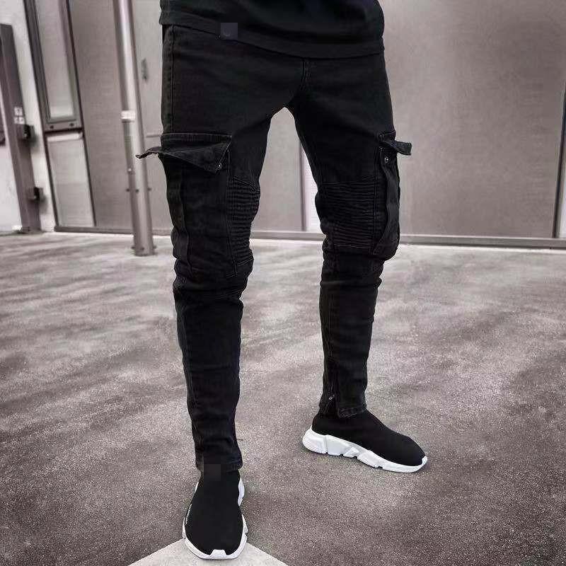 2020 de moda Primavera Verano lápiz Pantalones Casual Slim Hip-hop Hombre Vaqueros Slim Fit Pantalones Hombre Y10750