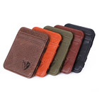 Brand Band Wallet Leather Men Wallets Brand Customization Elastic Band Card Holder Wallet Custom RFID Blocking Genuine Leather Slim Minimalist Men Magic Wallets