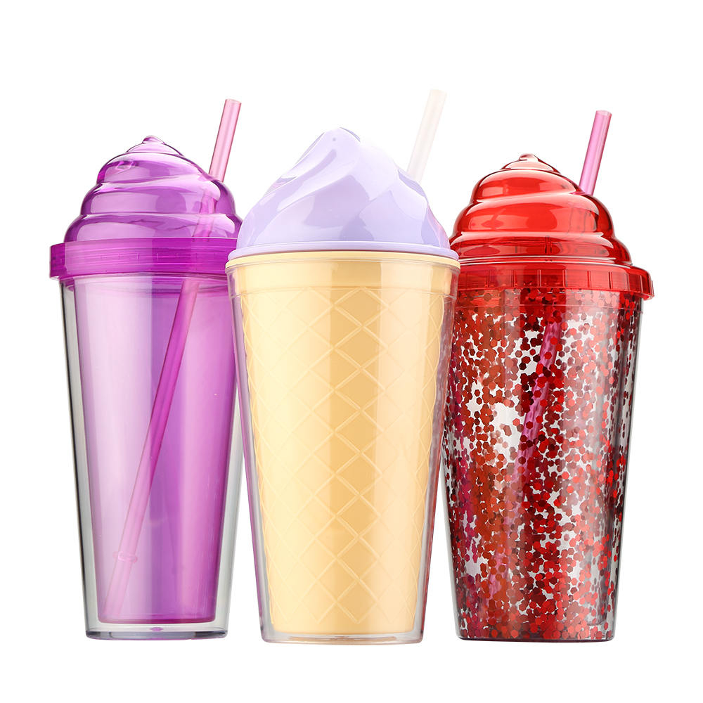 In Stock Many Style Wholesale 16oz Plastic Coffee Tumbler Double Wall Water Tumbler With Dome lid and straw