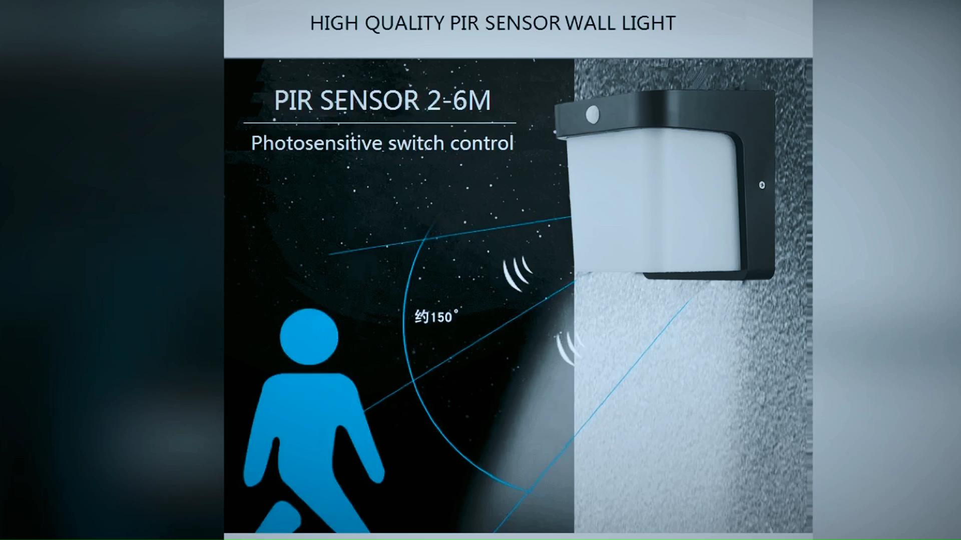 PW1703-E27-PIR акриловый ПК квадратный датчик движения led шаг света E27 патрон датчик движения лампа