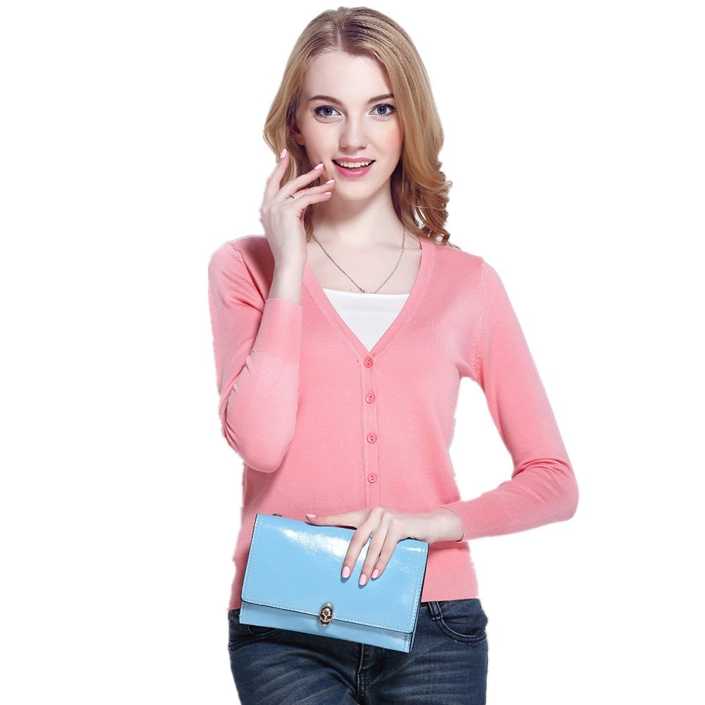 Amazon Hot Sale Women' s V Neck Button <strong>Long</strong> Sleeve Winter Basic Knitted Sweater <strong>Cardigans</strong>
