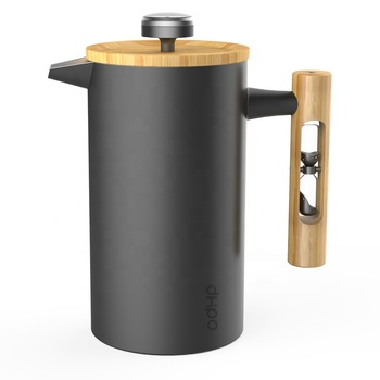 DHPO insulated stainless steel french press coffee maker with bamboo handle and timer and thermometer
