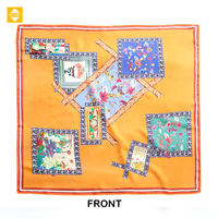 Natural Style Summer New Design Digital Printing Silky Square Scarf Ladies Edge Wrap Silk Scarves Customized Ethicon Soie 100%
