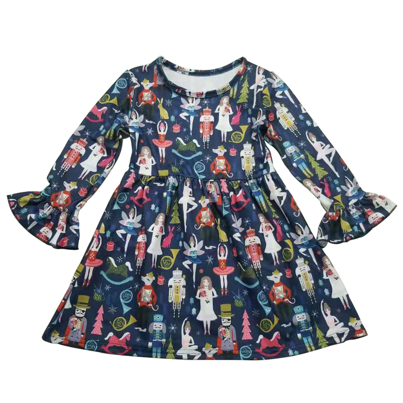 Dress for girl autumn cartoon printed skirts with long sleeve children cotton frock design boutique clothing for <strong>kids</strong> <strong>fashion</strong>