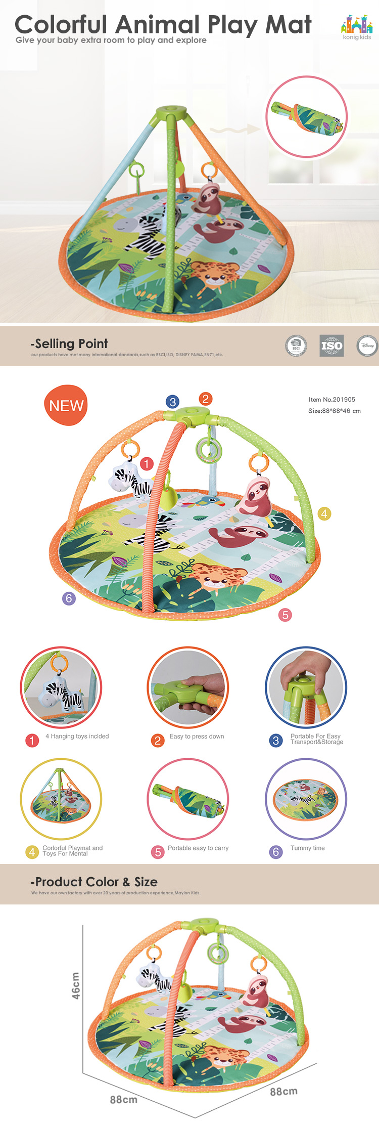 Konig Kids New Baby Products Colorful Animal Kids Baby Play Gym,Plush Baby Play Mat