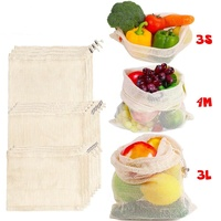 Reusable Grocery Shopping Fruits And Vegetables Drawstring Cotton Mesh Bag Net Bag With Metal Spring Buckle