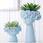 Blue resin head nordic resin vase planter polyresin crafts