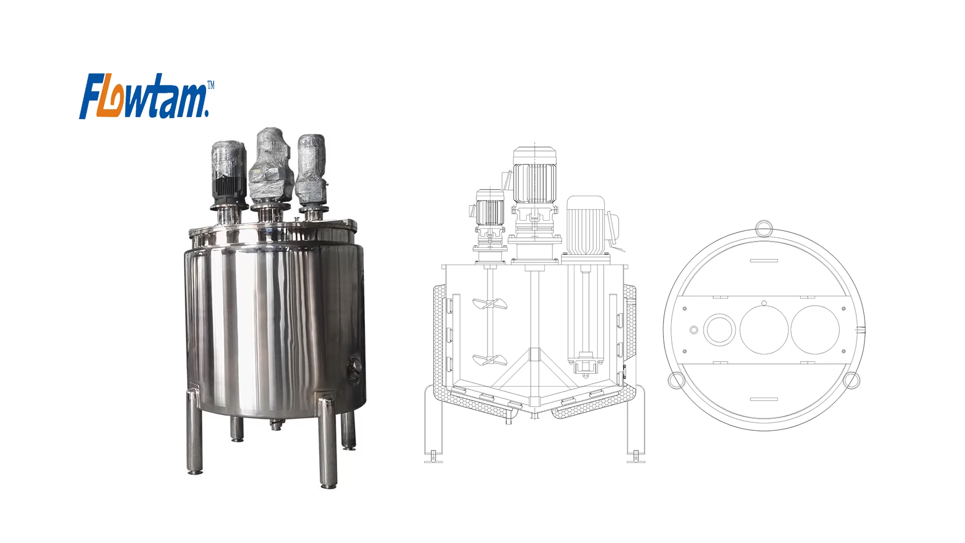 Chaleira elétrica do aço inoxidável vapor/aquecimento duplo encamisado tanque de mistura líquida