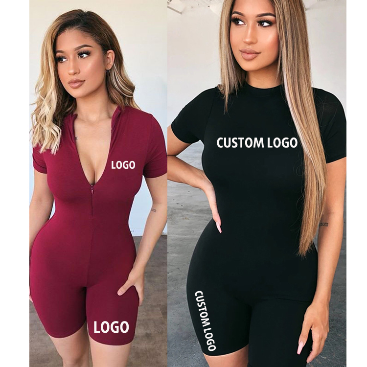 Free Shipping Slim Cotton Clothing With Zippers Short Sleeve Tight Hip Up Short Sports Jumpsuits For Women Two Ways Wear