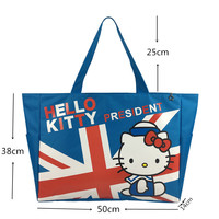 High Quality School Girls Fashion Lovely Foldable and Reusable Hello kitty Design Printing logo tote bag canvas