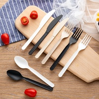 LULA 3 in 1 Cornstarch Compostable Non Plastic OEM 7 Inch Black PLA Spoon Fork Knife Low MOQ Cutlery Set with Napkin Box