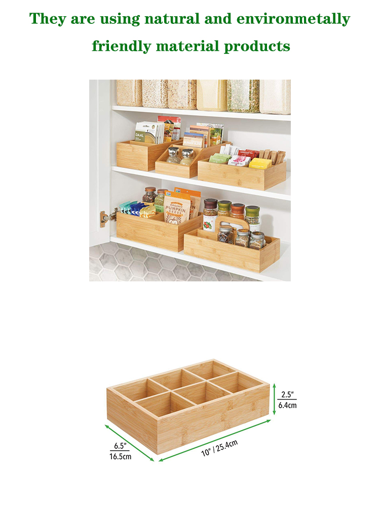 Bamboo Wood Compact Tea & Food Storage Organizer Bin Box - 6 Divided Sections - Holder for Tea Bags, Coffee, Packets, Sugar