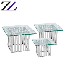 Banket diner voedsel display riser fast food buffet vierkante glas textuur staal <span class=keywords><strong>wilton</strong></span> decorating metal <span class=keywords><strong>cake</strong></span> decoratie gereedschappen