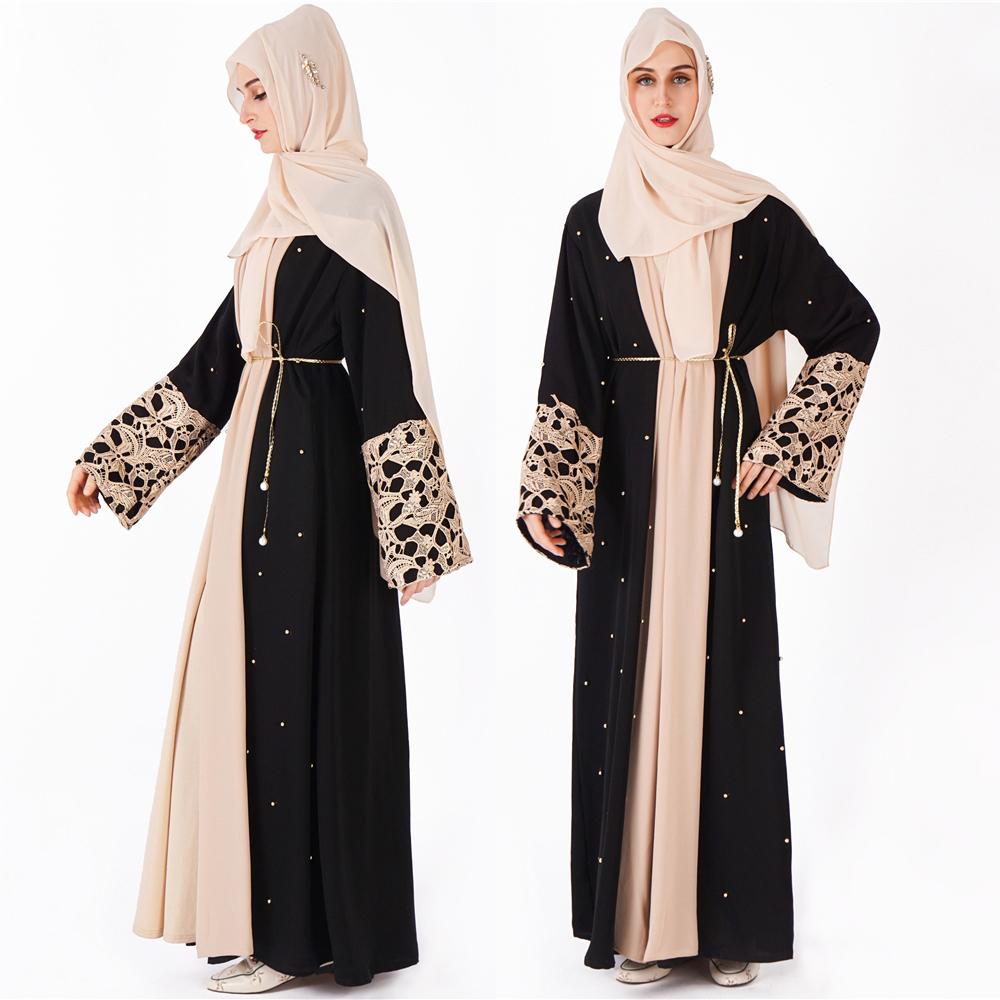 2020 moderno ultima islamico kimono abaya lungo in pizzo e del manicotto del batwing anteriore aperto cardigan abaya