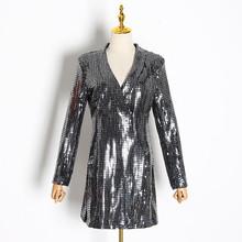 TWOTWINSTYLE женские блейзеры с блестками в стиле пэчворк, с длинным рукавом, туника, облегающие Женские костюмы 2020, модная одежда(Китай)