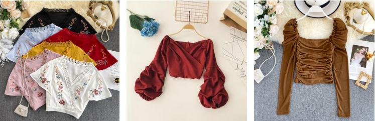 Europea de inmigración de las mujeres de la moda de hombro larga manga puff tops blusa