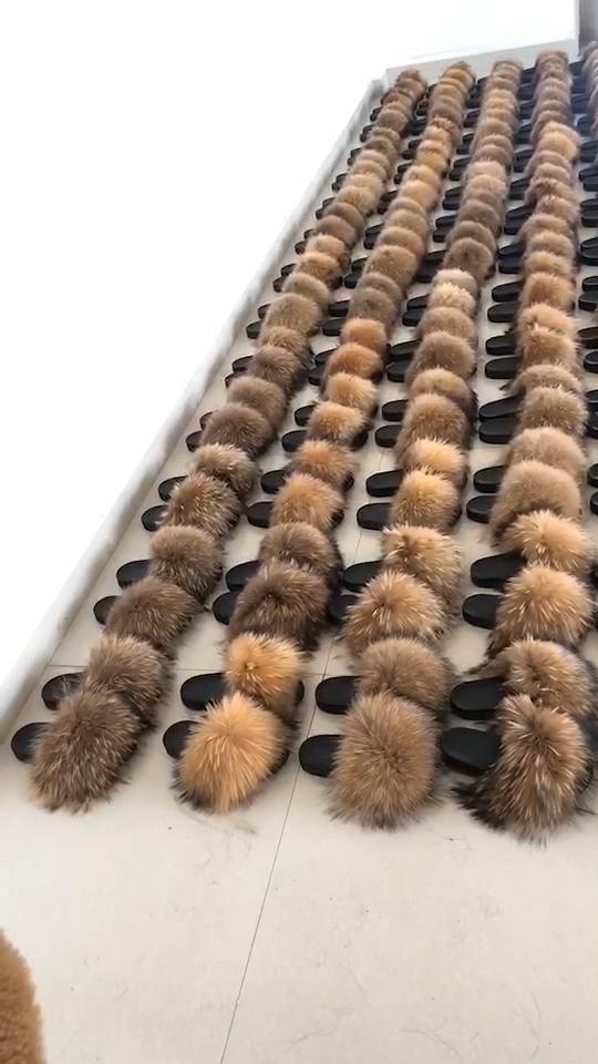 2019 haute qualité mode espagnol importations femmes pantoufles de fourrure de renard
